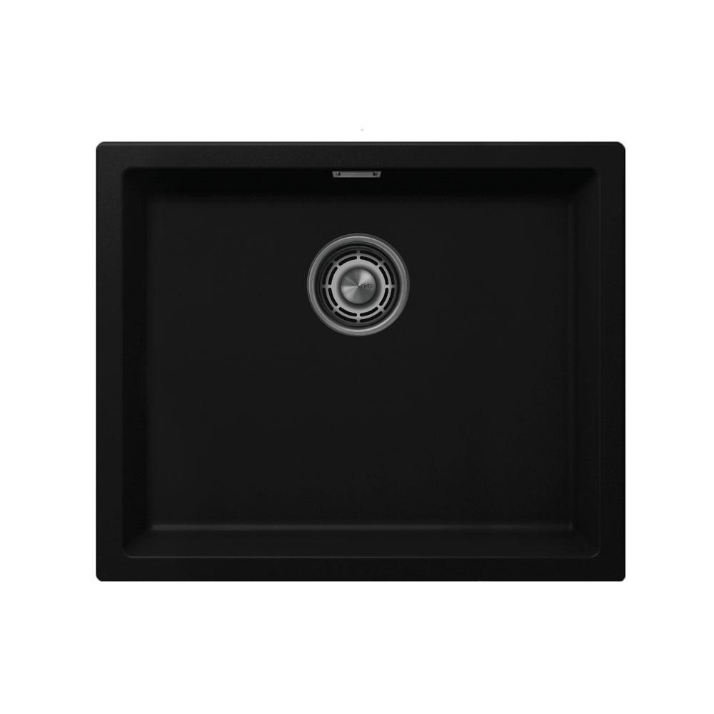 黒 台所の洗面器 - Nivito CU-500-GR-BL Brushed Steel Strainer ∕ Waste Kit Color