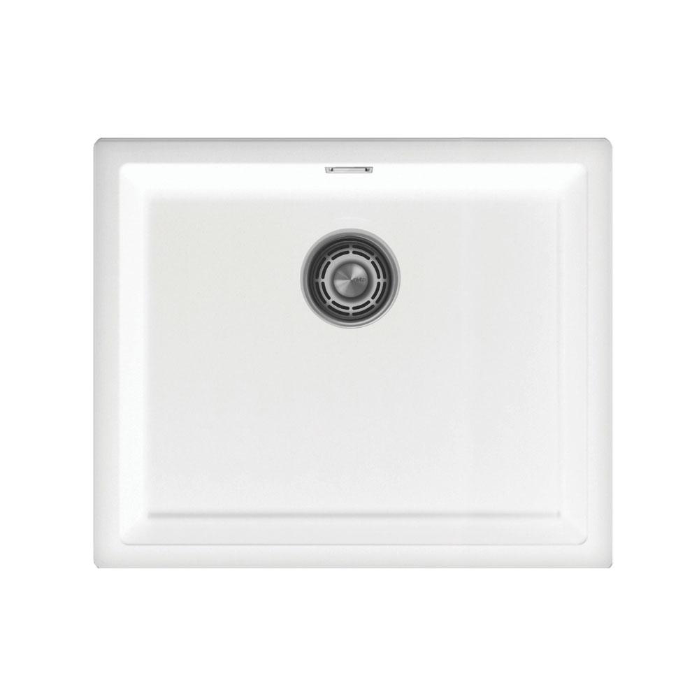 白 台所の洗面器 - Nivito CU-500-GR-WH Brushed Steel Strainer ∕ Waste Kit Color