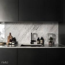 黒 キッチン蛇口 - Nivito 8-RH-320